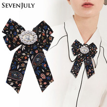 ФОТО vintage floral fabric canvas brooch bowknot pin tie necktie corsage crystal rhinestone blouse women clothing dress accessories