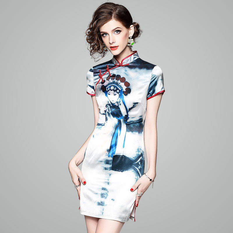 Dames Courtes Nouveau À Style De Femmes Impression Mandarin Col D'été Chinois Chiheongsam Slim Bleu 2018 Manches Robe Robes Mode Mini Eva8nwq4