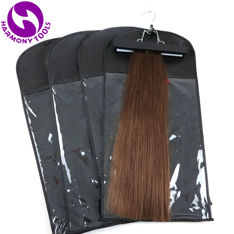 100 Sets Black/White/Pink Hair Extension Package Zipper Hanger Suit Case Bags Hair Packing For Clip Weft Hair And Ponytail