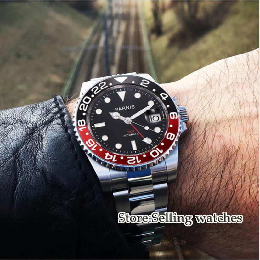 40mm Parnis Mechanical Watches Black Red Bezel black dial GMT luminous marks sapphire glass automatic Mens Watch
