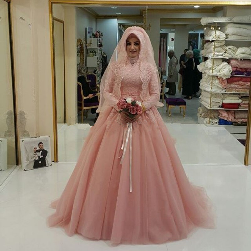 High Neck Muslim Wedding Dress Lace Applique A Line Arabic Design Custom Made font b Hijab