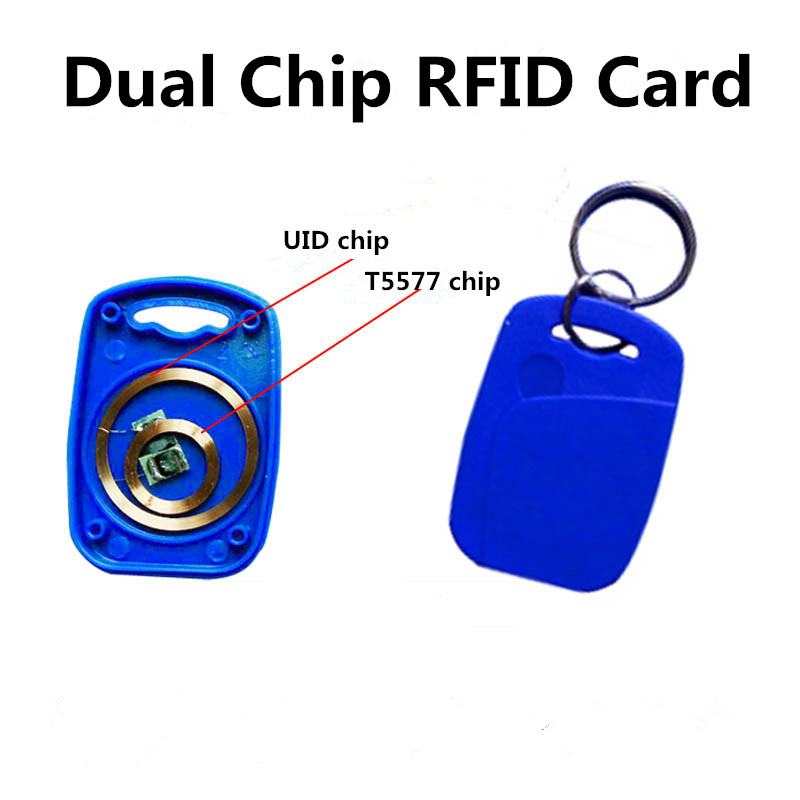 50pcs Dual Chip T5577 EM4305 UID Key Tag RFID 125KHz 13.56MHz Proximity Writable Keyfob Ring Keychain Copy Clone Duplicate-in Access Control Cards from Security & Protection    1