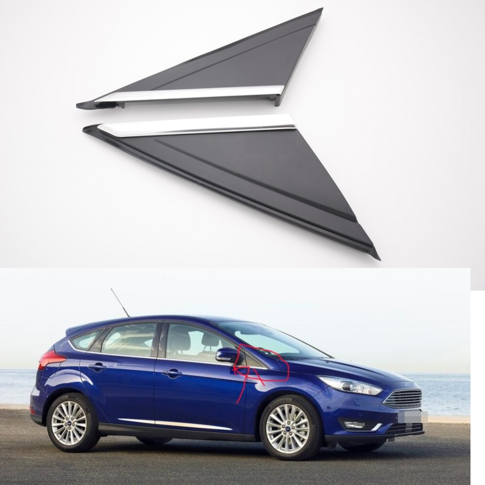 1Pair Car Left Right Front upper window outside triangle covers molding trim for Ford Focus 2012-2017 car styling chrome side upper edge window trim set for ford focus mk3 sedan 2012 2013