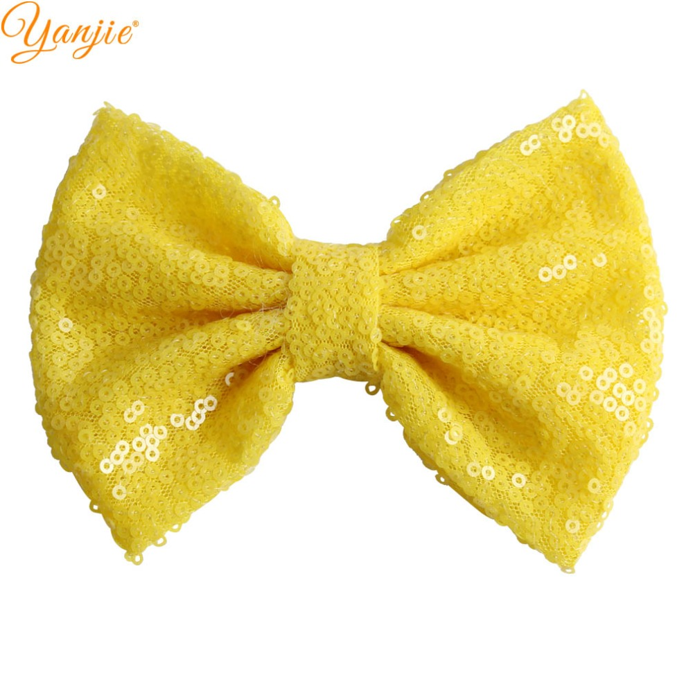 """Image 4 - 30pcs/lot 5"""" Knot Sequin Hair Bow WITHOUT Hair Clips  Girls Solid Glitter Bow For Kids DIY Headband Hair Bands Hair Accessories-in Hair Accessories from Mother & Kids"""