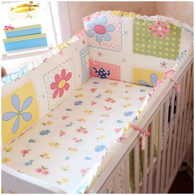 Promotion! 6PCS Cotton Baby Cot Bedding Set Newborn Cartoon Baby Crib Bedding Detachable (bumpers+sheet+pillow cover)
