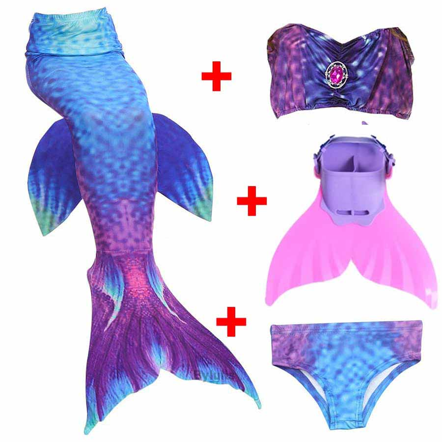 4pcs/Set Girls Bathing Suit Swimming Mermaid Tails with Monofin Cosplay Children Ariel Swimmable Mermaid Tail Costume Child Kids