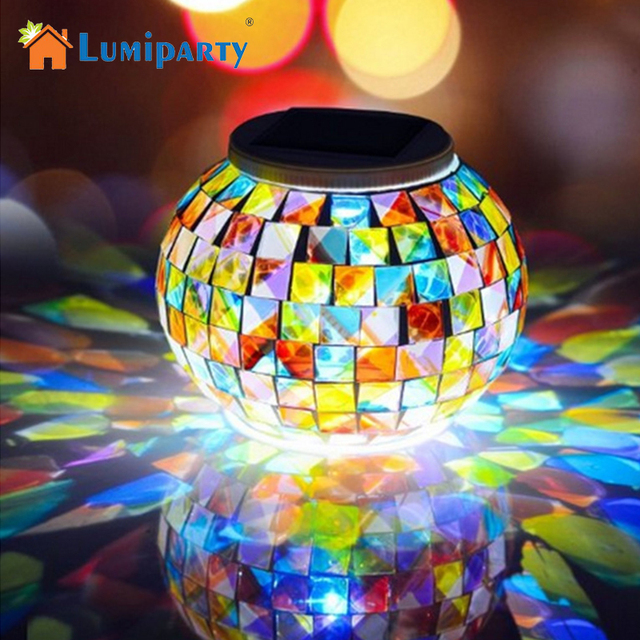 lumiparty solar powered led mosaic glass ball lamp color changing