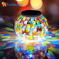 LumiParty Solar Powered LED Mosaic Glass Ball Lamp Color Changing Solar Table Lamp Waterproof Solar Light for Outdoor Decor