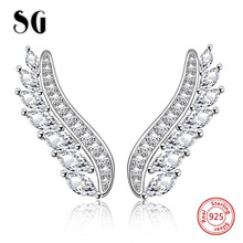 SG Genuine 100% 925 Sterling Silver Feather Fairy Wings Stud Earrings with Clear CZ for Women Fashion Jewelry