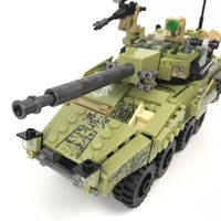 DIY Model Toy Black Gold Military Building Blocks Set Tank Field Armed Forces Army Soldier Figures Bricks Legoing