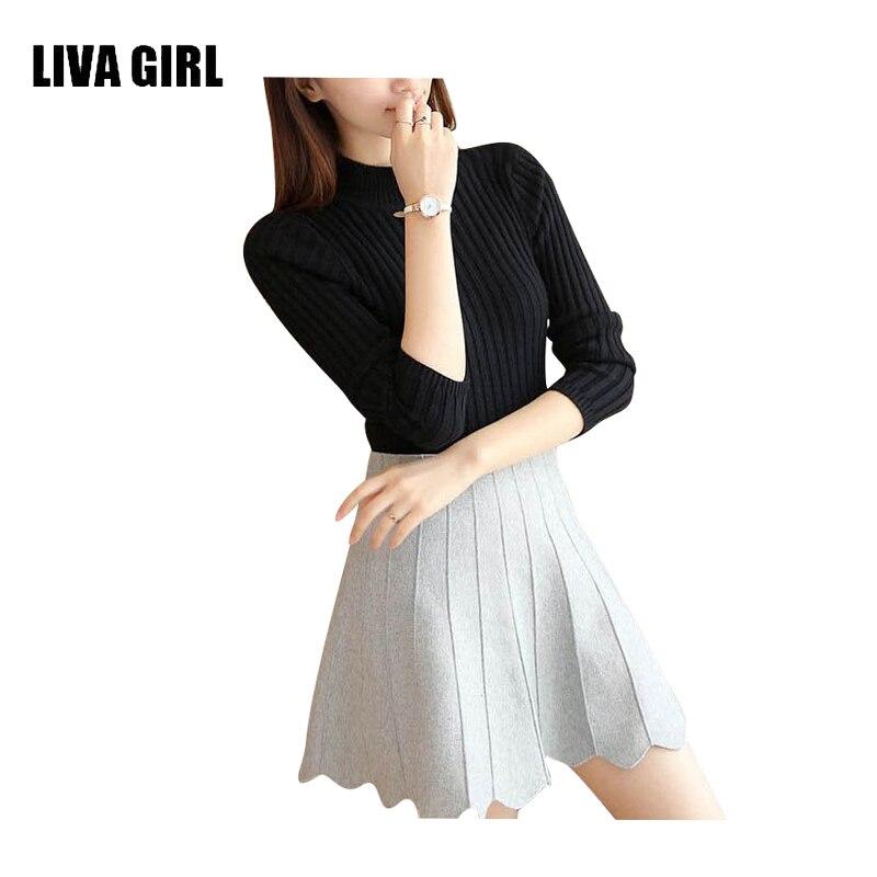 ΞLIVA Girl ropa mujeres Suéteres y Jerséis lana sólida femenina ...