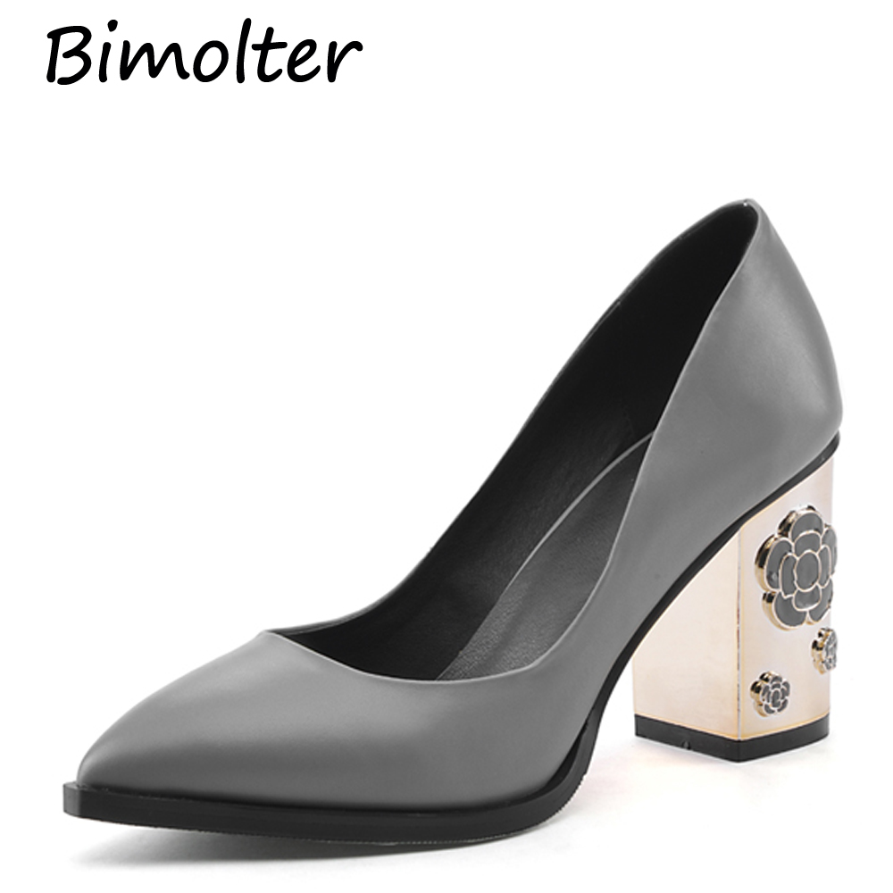 Bimolter divat valódi bőr szivattyúk Kiváló minőségű virágos - Női cipő