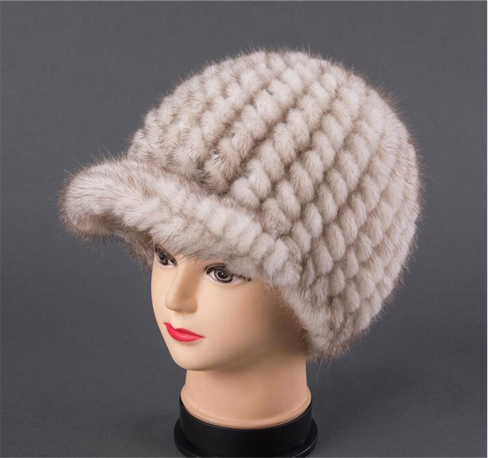 BFDADI New Fshion And Warm Hat For Women Real Natural Mink Fur Cap High quality Cute with ears and tail Hat Snow Warm - 5