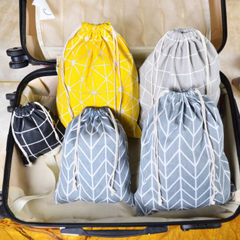 Fashion Drawstring Canvas Cosmetic Bag Organizer Storage Makeup Pouch Travel Make Up Case Plaid Toiletry Beauty Wash  Box