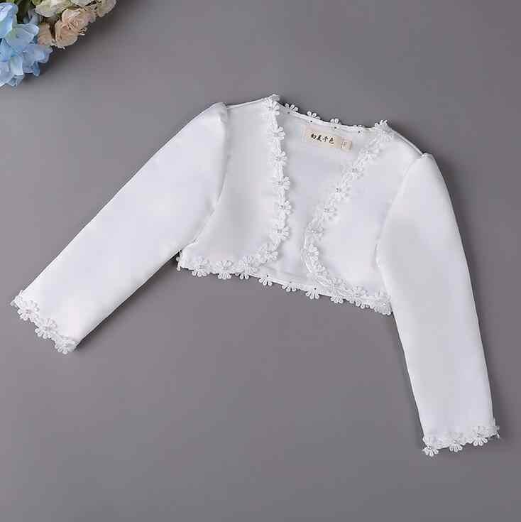 Zarif Pay kızlar uzun kollu beyaz dantel İnciler Boncuklu boleros ceket düğün elbisesi Eşleşen sarar 6 8 10 12 14 yıl