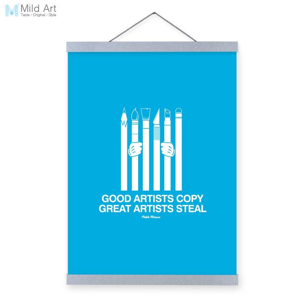 À§Ê• ʔ୨moderne Minimaliste Inspiration Typographie Picasso Steve Jobs Citations Art Imprimer Affiche Mur Photo Toile Peinture Cor La Maison W980