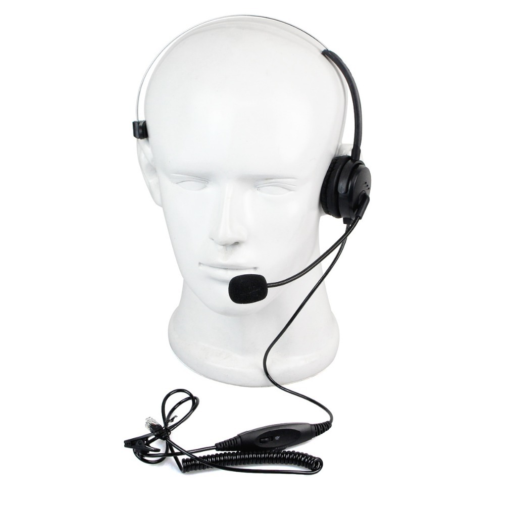 4 Pins RJ9 kristall Headset Call-Center Mono Büro Telefon Headset + Spiralkabel...