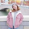 Pana velventeen mujeres botones de cuello cremallera otoño invierno ulzzang windbraker capa de la chaqueta outwear 2016 harajuku rosa gris