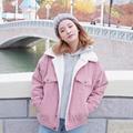 corduroy velventeen women collar buttons zipper autumn winter jacket windbraker coat outwear ulzzang 2016 harajuku pink gray