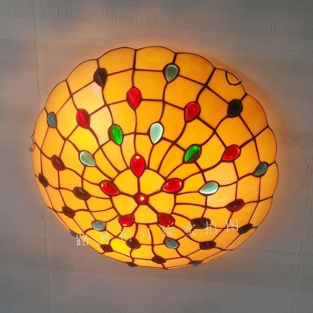 Factory direct 16-inch the American retro ceiling lamps Tiffany stained glass art of living room, bedroom balcony Lighting