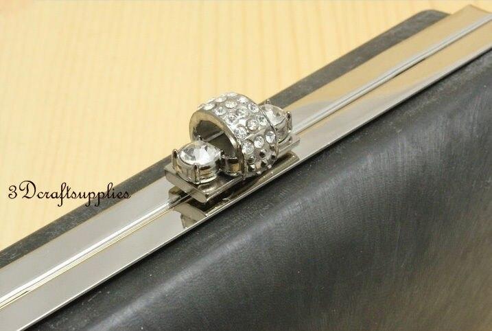 metal frame rectangle Box purse frame silver 6 1/2 inch x 3 1/4 inch K64