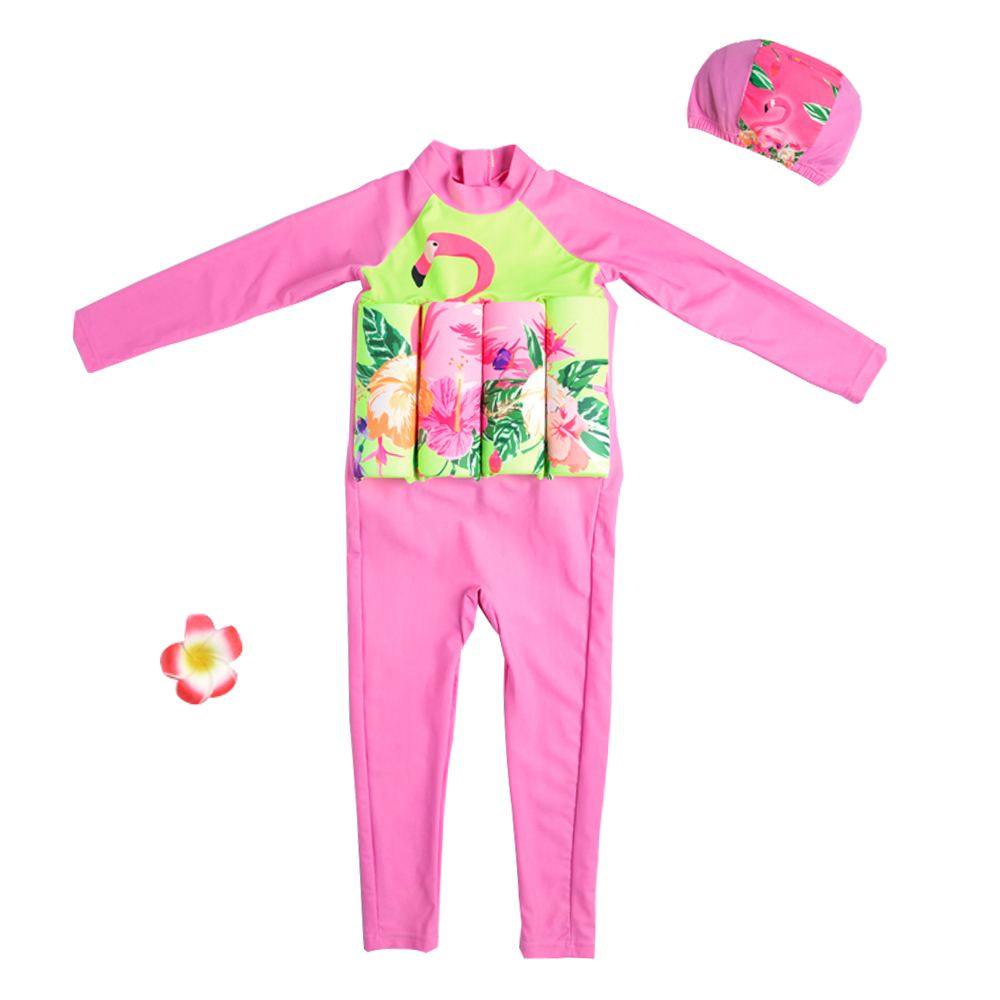 Flamingo Children's Swimsuit Toddler Girl Bodysuits One Piece Float Swimsuit Long Sleeve Full Body Pink Safe Swimming Suit Cap