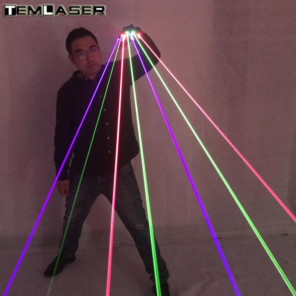 Безкоштовна доставка RGB лазерні рукавички з 7pcs лазер 3шт зелений + 2шт червоний + 2шт фіолетовий блакитний етап рукавички для DJ клуб партії шоу  t