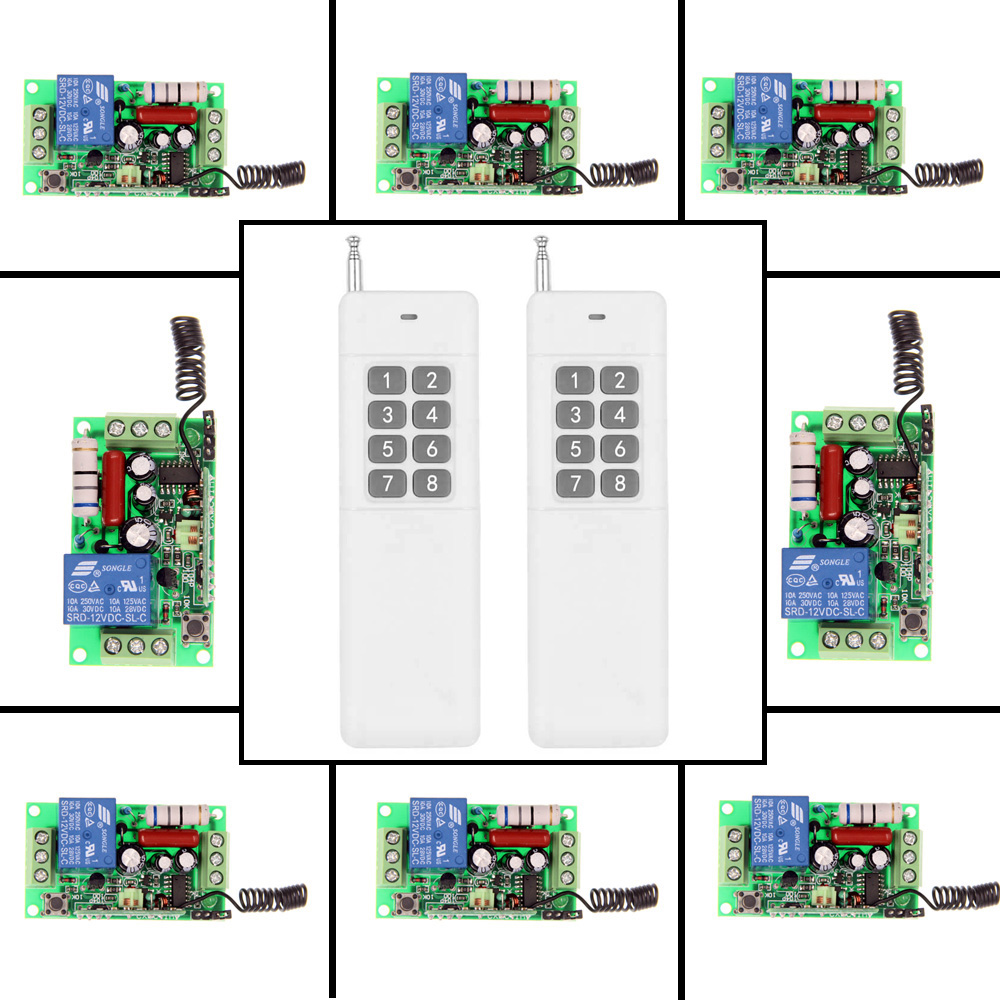3000m AC 220V 110V 1 CH 1CH RF Wireless Remote Control Switch System,2X Transmitter + 8 X Receiver,Toggle Momentary,315/433.92 new ac 220v 30a relay 1 ch rf wireless remote control switch system toggle momentary latched 315 433mhz