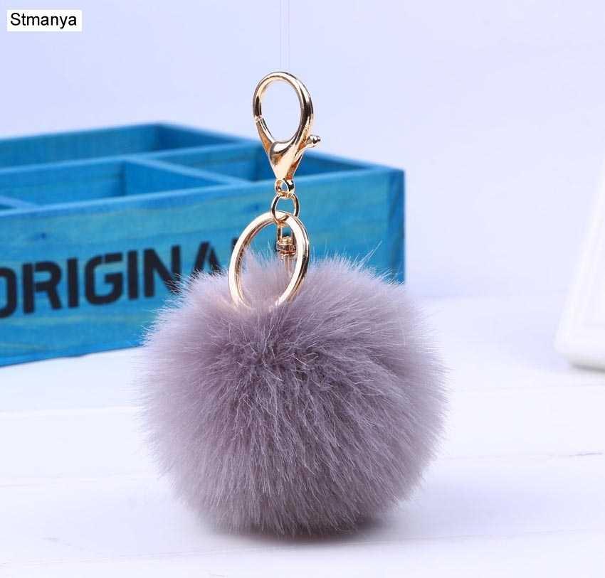 Hot presente de Natal chaveiro pele 13 Cores pom pom pele saco anel chave chaveiro chaveiros de prata de ouro Para As Mulheres jóias #16007