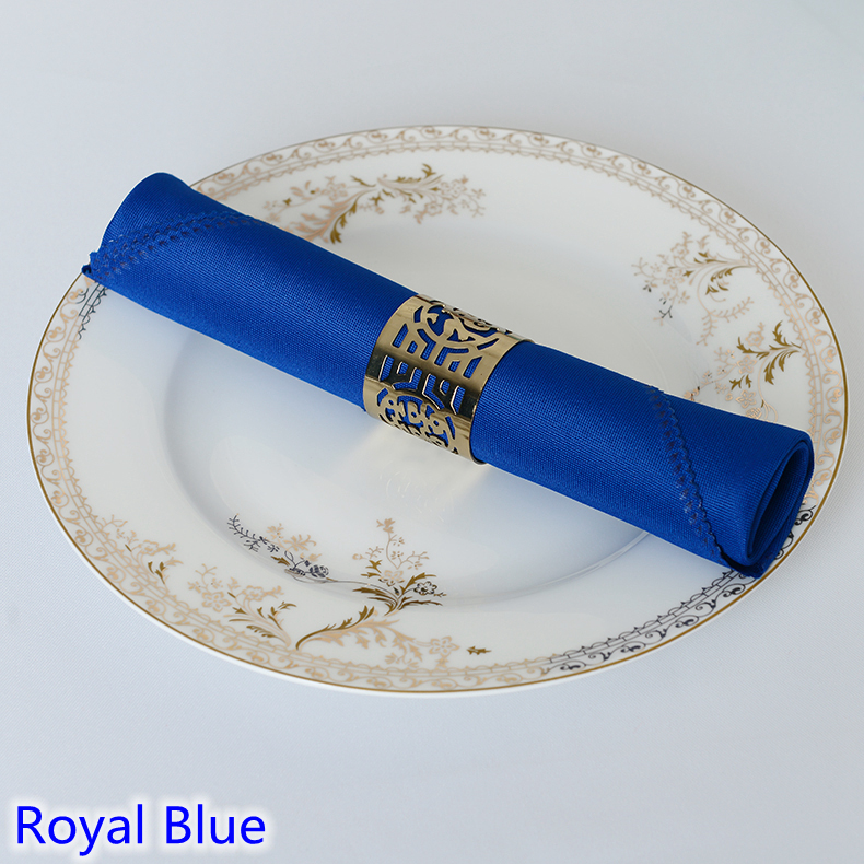 Royal blue colour Table napkin plain polyester napkin for wedding hotel and restaurant table decoration wrinkle stain resistant