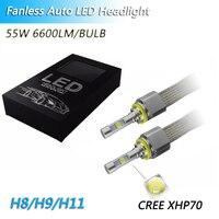 1 Set H8 H9 H11 110W 13200LM CR EE XHP70 LED Headlight H4 H7 9005 9006 9012 HB3 HB4 HIR2 Fanless 6000K Car Driving Fog Lamp Bulb