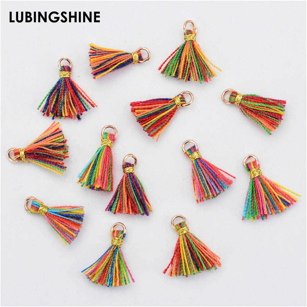 20pcs/lot Colorful Cotton Silk Tassel for Alloy Hang-up Earrings Charm Pendant Satin Tassel DIY Jewelry Making Findings Material