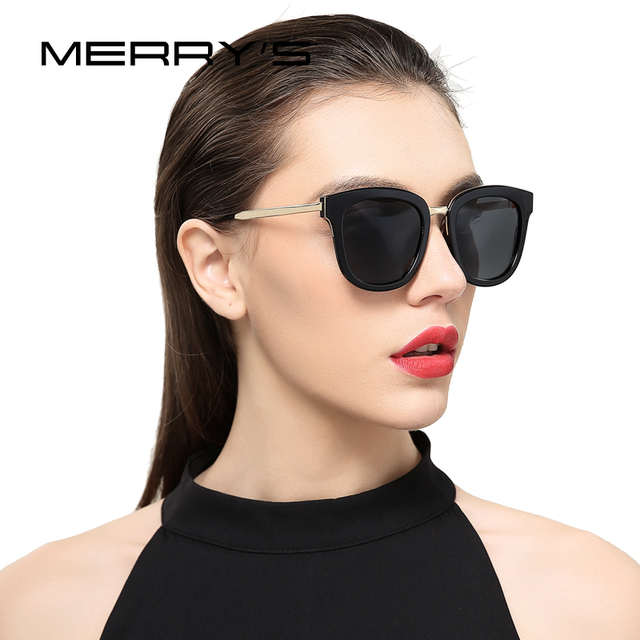 2961491b39 MERRYS Women Classic Cat Eye Polarized Sunglasses Fashion Sun Glasses Metal  Temple 100% UV Protection S6082