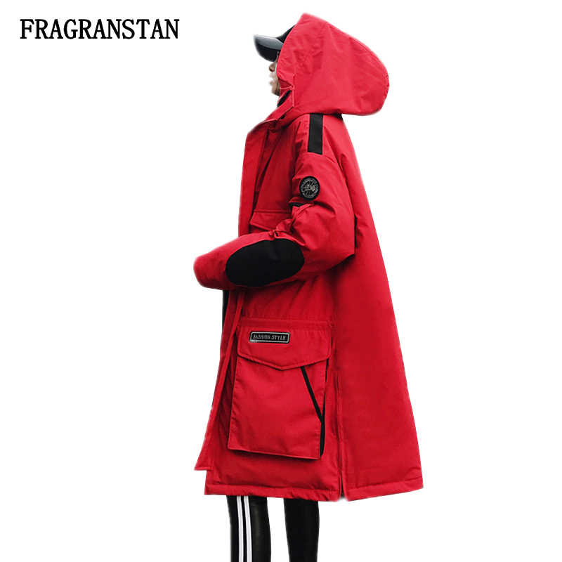 Winter Jacket Women Thick Warm Red Hooded Parka Female2018 Patch Designs Overcoat Plus Size Casual Wadded Cotton Long Coat JQ862
