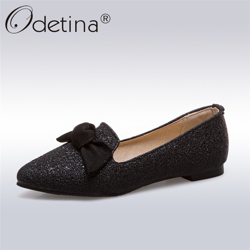 2afa7d8054b5 Odetina 2018 New Fashion Women Sequined Cloth Flats Bowknot Slip On  Blingbling Sweet Shoes Ladies Pointed Toe Casual Flat Shoes-in Women s  Flats from Shoes ...
