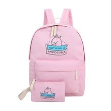 2 unids/set lona de las mujeres mochila bolsos lindos de impresión mochilas mochila portátil para adolescentes 7 COLORES