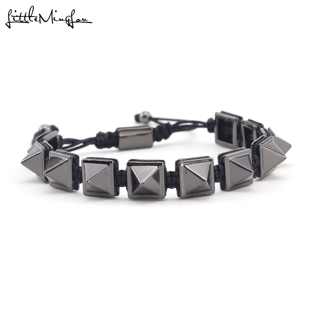 Luxury zirconia Pyramid charm bracelet Square Beads Connector Braiding Macrame bracelets men Bracelet Bangle for men jewelry in Charm Bracelets from Jewelry Accessories