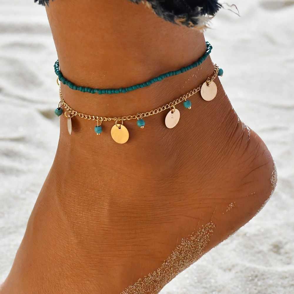 MissCyCy богемные бусины лодыжки браслет для женщин ножная цепочка Круглый кисточкой ножной браслет Винтаж Бижутерия для ног аксессуары