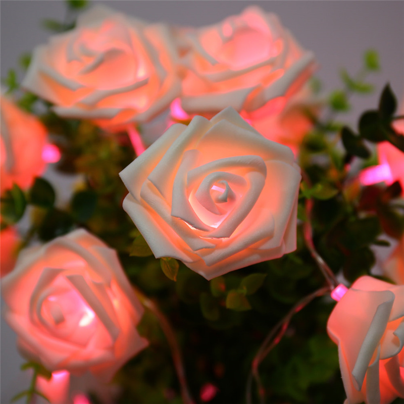 9 Colors Fashion Holiday Lighting 20 LED Novelty Rose Flower Fairy String Lights Wedding Garden Party Valentine's Day Decoration стоимость