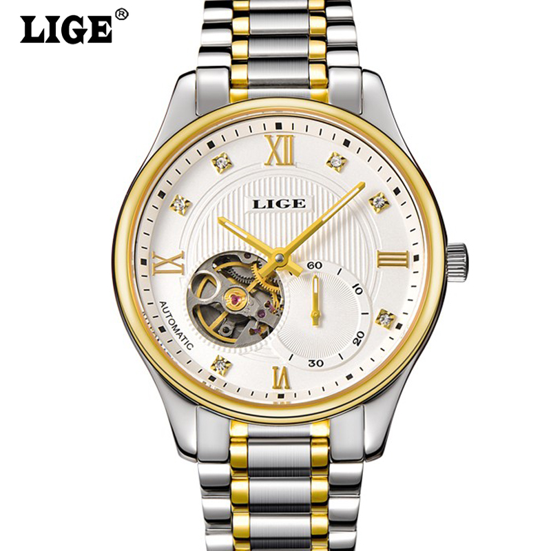 LIGE Mens High Quality Luxury Casual Automatic mechanical Watches Men Top Brand Luxury Business full steel watch Man Clock new business watches men top quality automatic men watch factory shop free shipping wrg8053m4t2