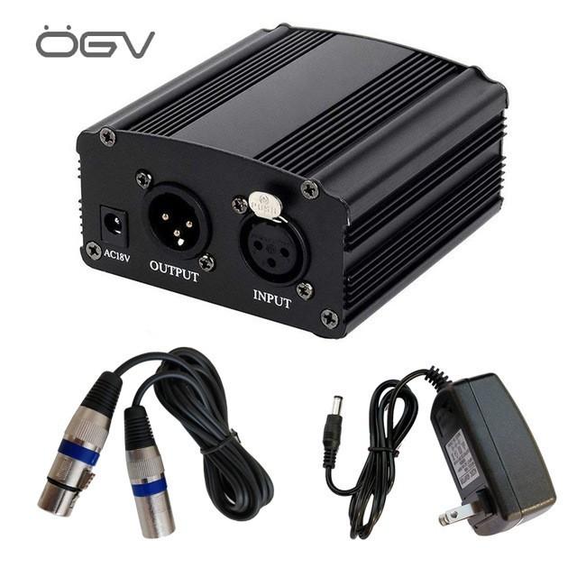 The New 48v Phantom Power Supply With Adapter Eu 3m Audio Xlr Cable For Condenser Microphone Music Voice Recording Equipment