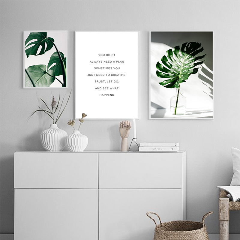 Nordic Leaves Motivational Canvas Poster Wall Art Home Decor Print