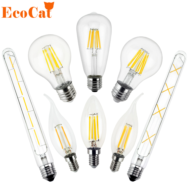 E27 E14 LED Edison lamp 220v LED bulb Antique Retro Vintage Filament led Light  Glass Bulb Lampen 2w 4W 6w 7w 8W candle light vintage edison bulb led e27 e14 lamp filament light vintage led bulb lamp 220v retro candle light 2w 4w 6w 8w g45 g80 g95 g125