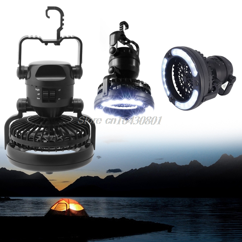 2 In 1 Camping <font><b>Ceiling</b></font> Fan Light Hanging Tent Lamp Lantern Outdoor 18 LED Lamp #K4U3X#