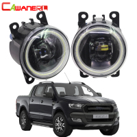 Cawanerl 2 Pieces Car LED Bulb H11 Fog Light + Angel Eye DRL Daytime Running Light 12V For 2005 2015 Ford Ranger