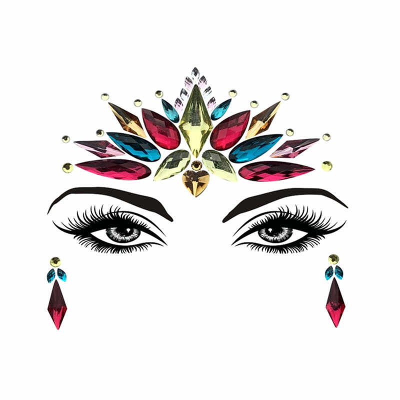 ... Adhesive Face Gems Rhinestone Temporary Tattoo Jewels Festival Party  Body Glitter Flash Temporary Tattoos Stickers Makeup d2893c998f44