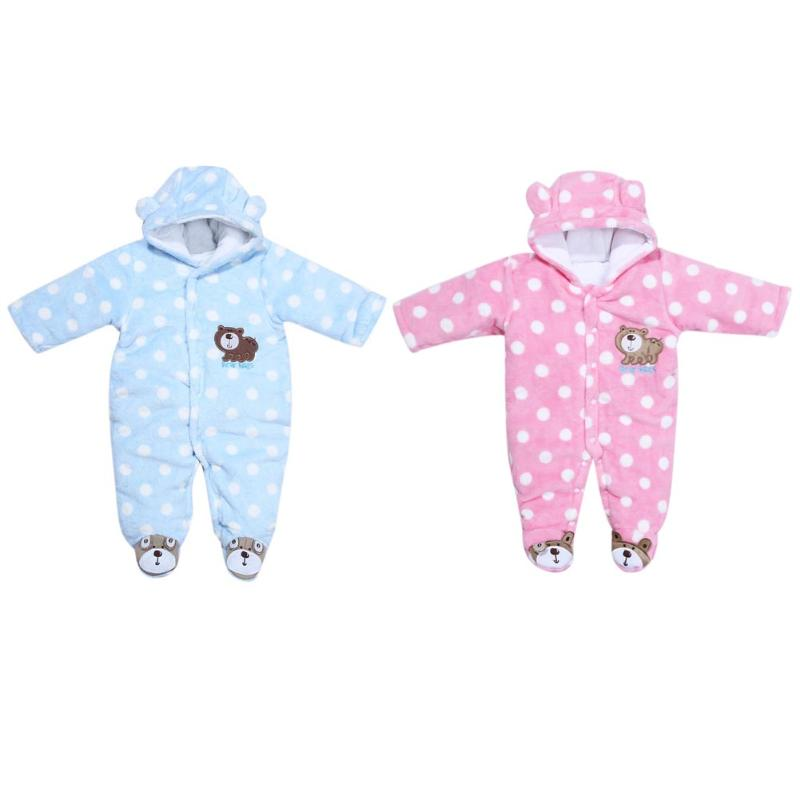 Winter Newborn Baby Clothes Warm Coral Velvet  Long Sleeve Romper Coats Jumpsuit Infant Kids Girls Boys One Piece Hooded Outfits children s winter rompers overall for kids pink blue warm coral velvet long sleeve jumpsuit bear baby clothes for kids