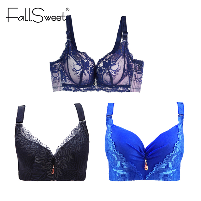 FallSweet 3 pcs / lot Sexy Women Plus Size Bra Lace Push Up Brassiere   D E  Cup 38 to 46