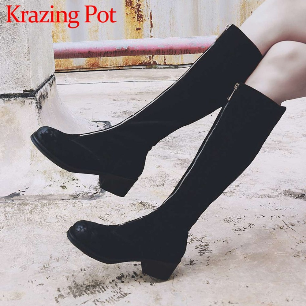 2018 sexy girls thigh high boots retro front zip round toe natural leather thick med heels movie stars over-the-knee boots L39 цены онлайн