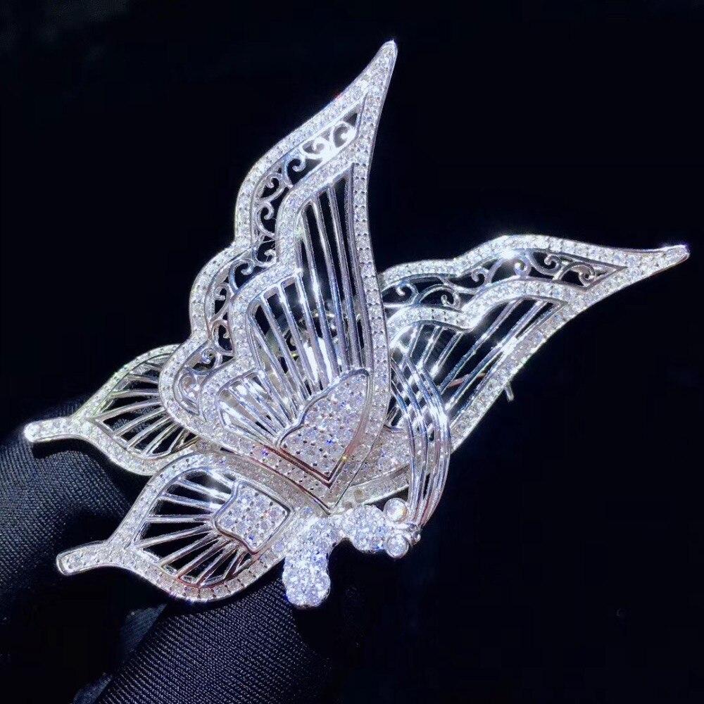 Broche papillon blanc insecte broches 925 argent sterling avec zircon cubique mode femmes bijoux 37*68 MM pendentif double usage